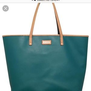 COACH F24341 Saffiano Green-Beige Leather Tote ❤️